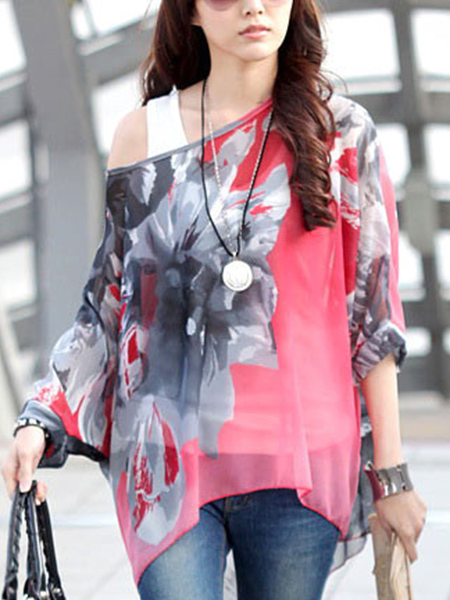 See-Through One Shoulder Printed Batwing Sleeve Tunic