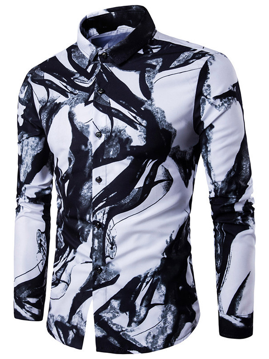 Turn Down Collar  Abstract Print  Cuffed Sleeve  Long Sleeve Long Sleeves