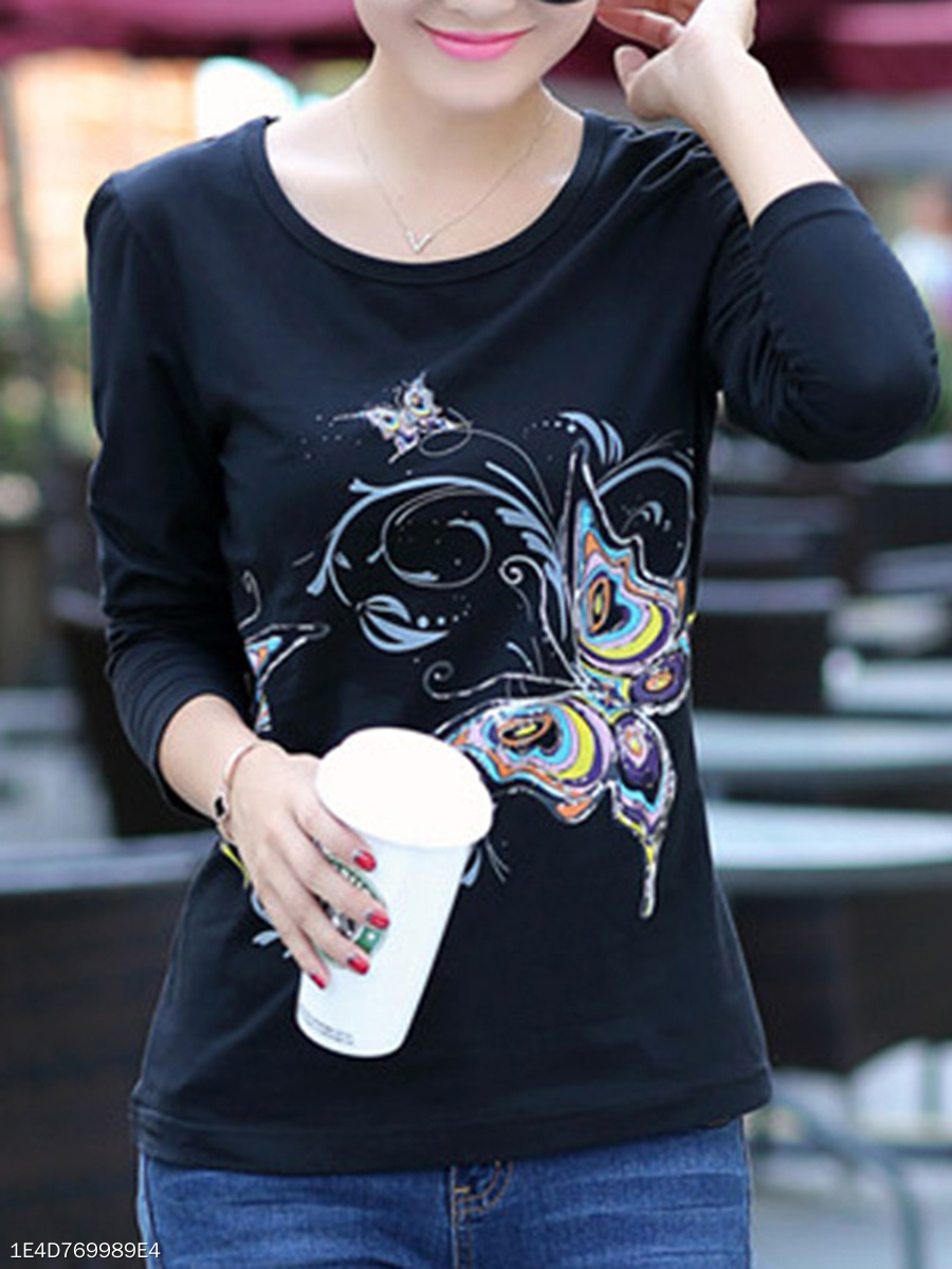 Round Neck  Printed Long Sleeve T-Shirts