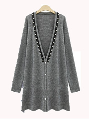 Beading Single Breasted  Plain  Long Sleeve Cardigans
