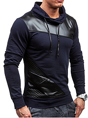 Turtleneck  Drawstring Patchwork Men Sweatshirt