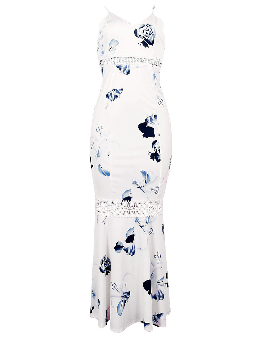 Spaghetti Strap Floral Printed Hollow Out Mermaid Maxi Dress