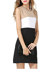 Round Neck Color Block Sleeveless Skater Dress