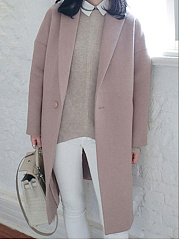 Manteau De Laine Slit Pocket Vented Plain