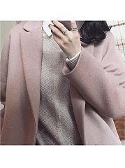 Lapel Single Button Plain Pocket Vented Woolen Coat