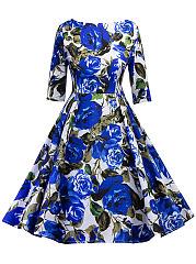 Vintage-Floral-Printed-Round-Neck-Skater-Dress