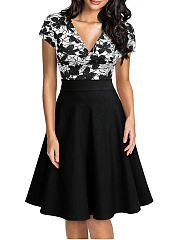 V-Neck  Colouring Printed Skater Dress