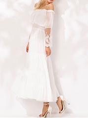Off-Shoulder-Elastic-Waist-Patchwork-Plain-Polyester-Maxi-Dress