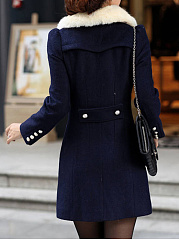 Doll Collar  Double Breasted  Plain  Long Sleeve Coats