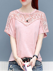 Summer  Cotton  Women  Round Neck  Decorative Lace  Plain  Short Sleeve Blouses