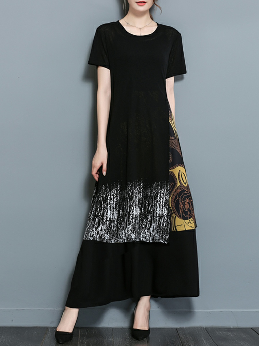 Round Neck Printed Two-Piece Maxi Dress