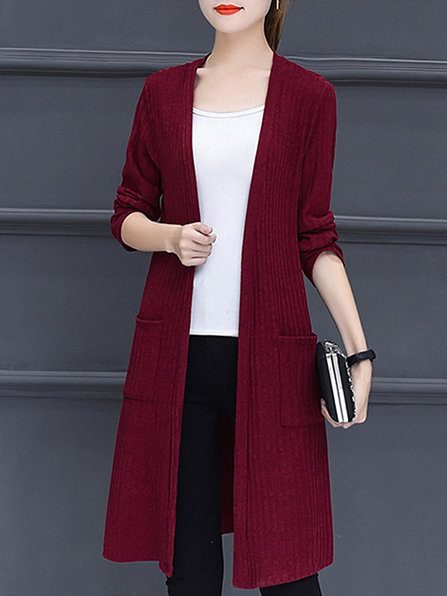 Solid Knit Long Trench Coats