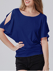 Summer  Polyester  Women  Open Shoulder  Plain Short Sleeve T-Shirts