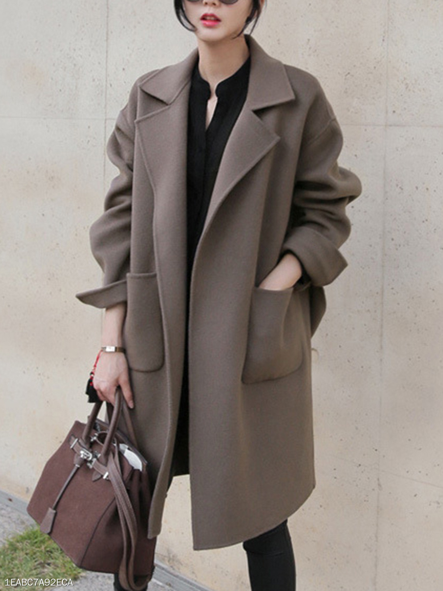 Lapel  Patch Pocket  Belt  Plain  Long Sleeve Coats