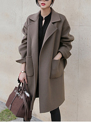 Lapel-Belt-Plain-Patch-Pocket-Woolen-Wrap-Coat
