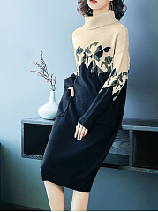 Band-Collar-Patch-Pocket-Printed-Spandex-Maxi-Dress