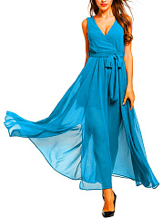 V-Neck  Slit  Belt  Plain Maxi Dress