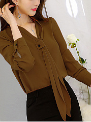 Autumn Spring  Polyester  Women  V-Neck  Decorative Button  Plain  Long Sleeve Blouses