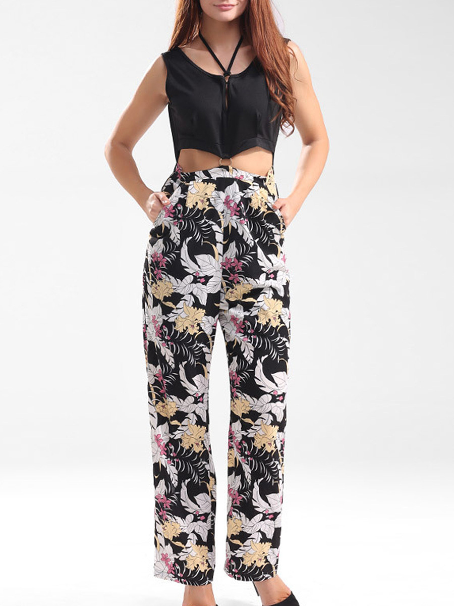 Designed Cutout Pocket Floral Printed Straight Jumpsuit