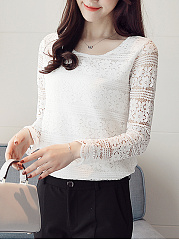 Round Neck  Hollow Out Plain Lace Blouse