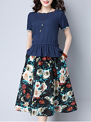 Round-Neck-T-Shirt-And-Floral-Printed-Pocket-Flared-Midi-Skirt