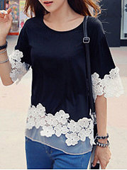 Spring Summer  Cotton  Women  Round Neck  Decorative Lace  Half Sleeve Blouses