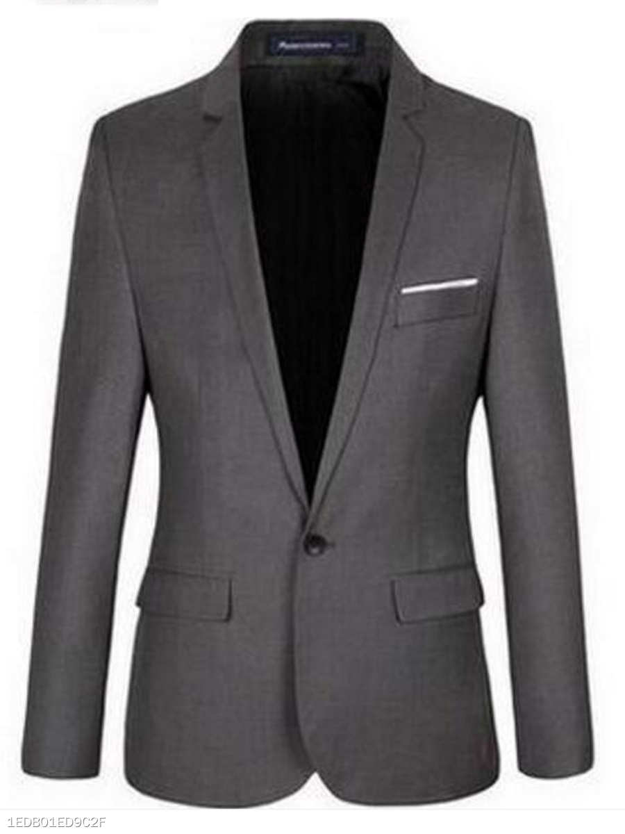 Narrow Notch Lapel Single Button Solid Men Blazer