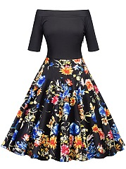 Off-Shoulder-Floral-Printed-Vintage-Skater-Dress