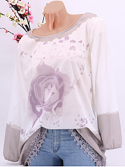 Autumn Spring  Polyester  Women  Round Neck  Decorative Lace  Floral Printed  Long Sleeve Blouses