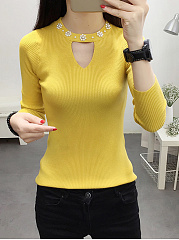 Round Neck  Beading  Plain  Long Sleeve Sweaters Pullover