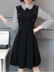 Doll-Collar-Striped-Skater-Dress
