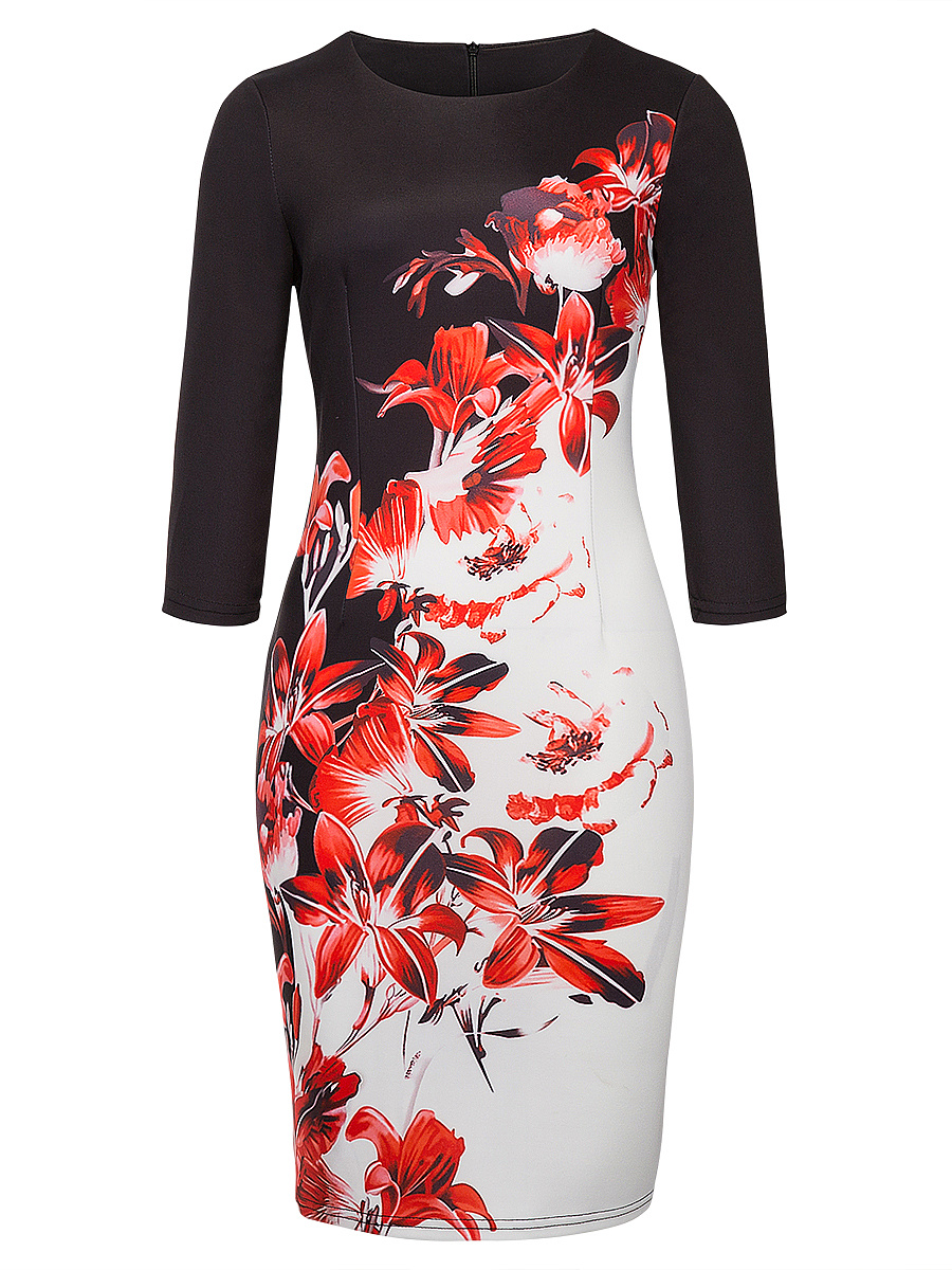 Elegant Floral Printed Round Neck Slit Bodycon Dress