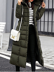 Hooded  Belt  Plain  Long Sleeve Coats