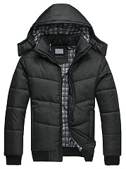 Hooded Quilted Pocket Men Padded Coat