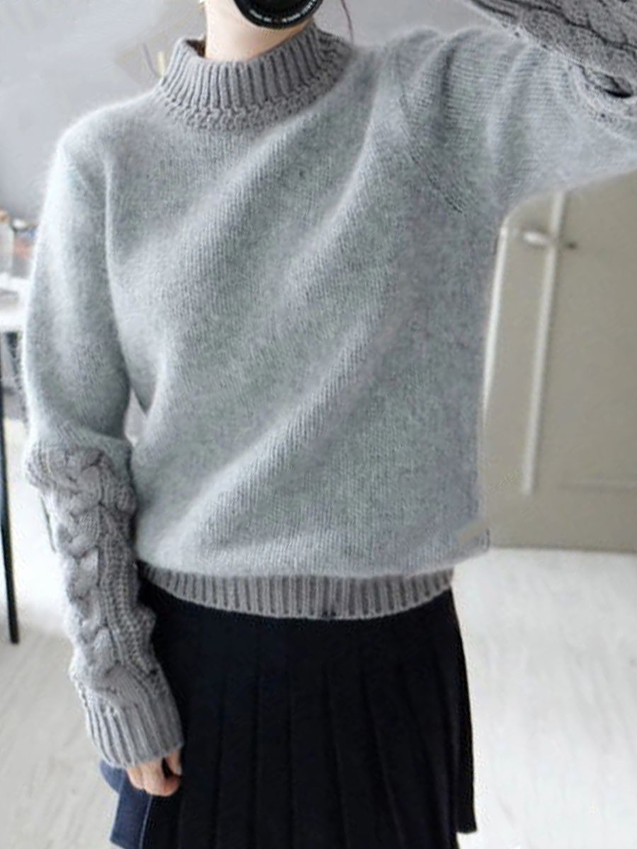 pullover High Neck  Patchwork  Plain Knit Pullover