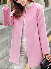 Collarless Plain Pocket Woolen Coat