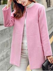 Collarless-Plain-Pocket-Woolen-Coat