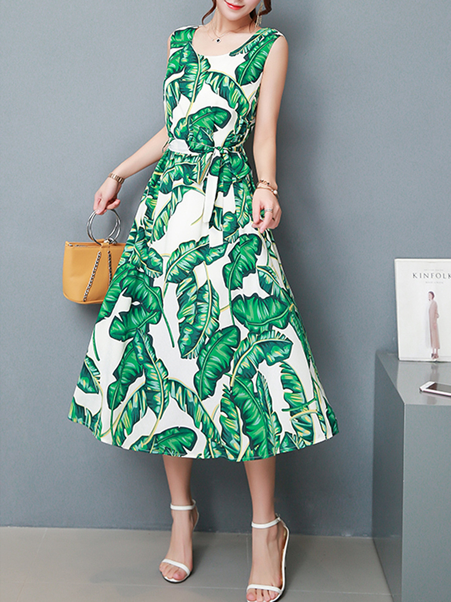 Tropical Leaf Printed Round Neck Chiffon Maxi Dress