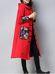 Hooded  Decorative Button  Plain Printed  Long Sleeve Coats