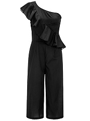 One-Shoulder-Flounce-Plain-Wide-Leg-Cropped-Jumpsuit