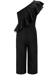 One Shoulder Flounce Plain Wide-Leg Cropped Jumpsuit