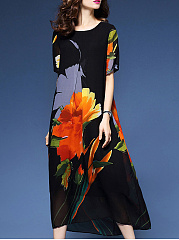 Trendy-Floral-Printed-Round-Neck-Maxi-Dress