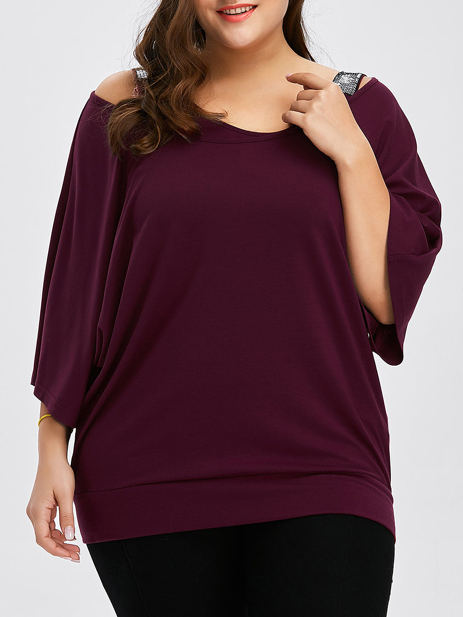 Round Neck  Plain  Fake Two Pieces Sequins Half Sleeve Plus Size T-Shirts