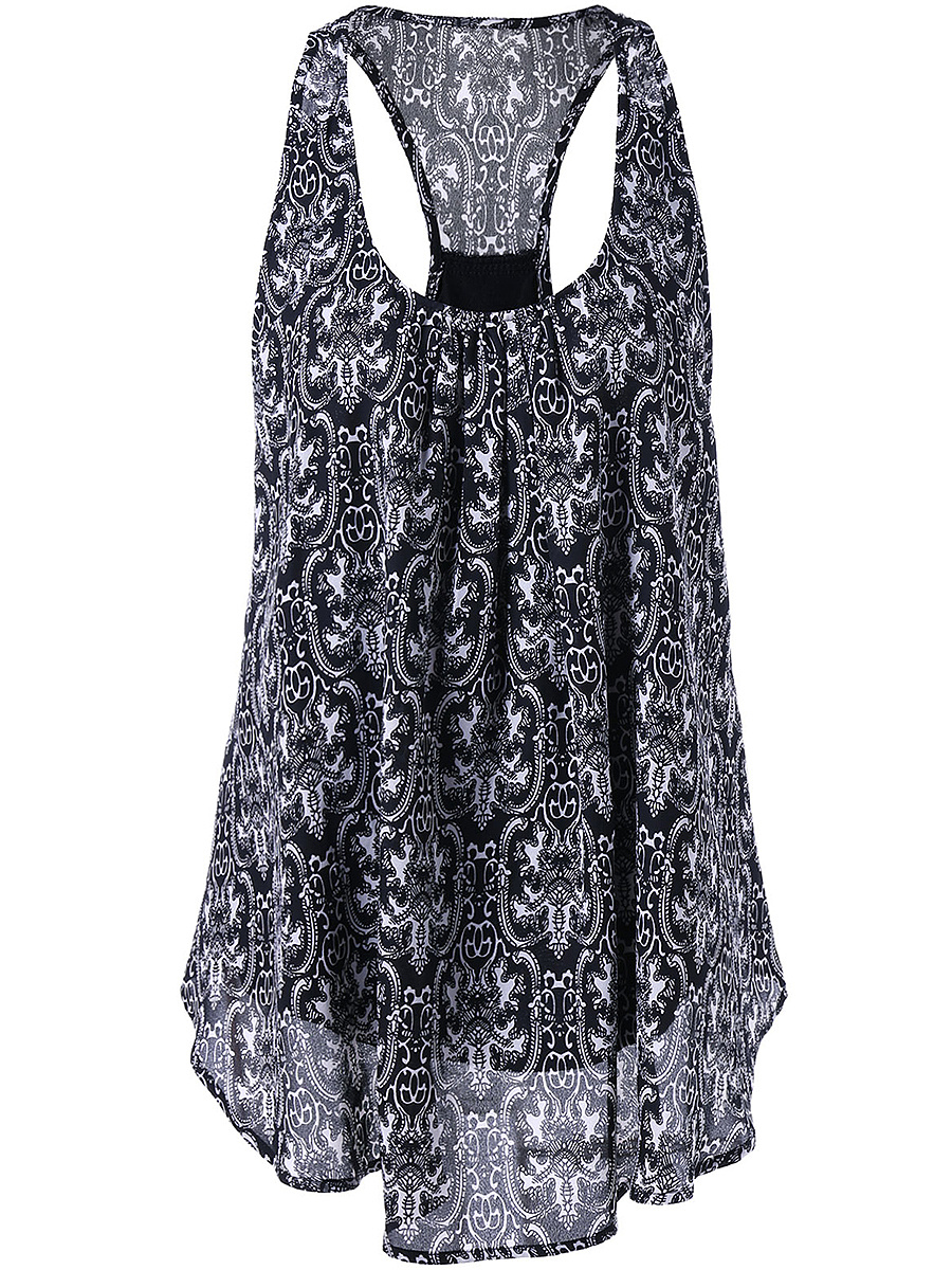 Round Neck  Racerback  Printed Sleeveless T-Shirt