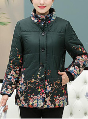 Band-Collar-Floral-Printed-Fleece-Lined-Coat