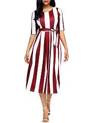 Color-Block-Vertical-Striped-Round-Neck-Belt-Midi-Skater-Dress