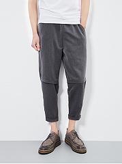 Plain-Slim-Leg-Cropped-Mens-Casual-Pants