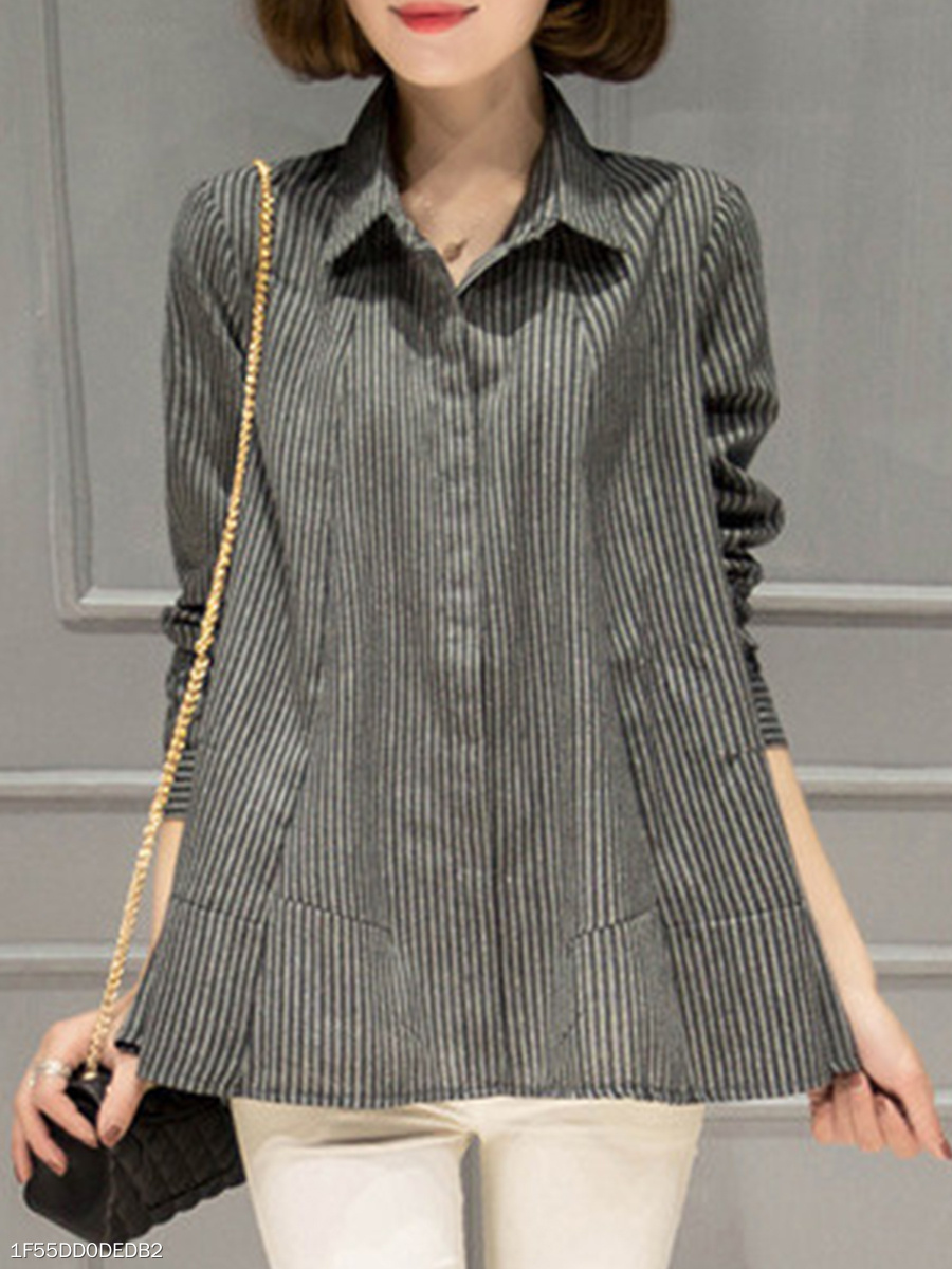 Turn Down Collar  Asymmetric Hem  Stripes Blouses