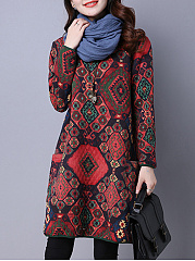 Round-Neck-Patch-Pocket-Quilted-Tribal-Printed-Shift-Dress