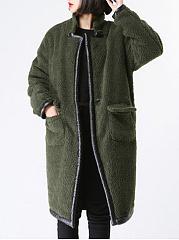 Band-Collar-Leather-Trimmed-Plain-Raglan-Sleeve-Long-Sleeve-Coats